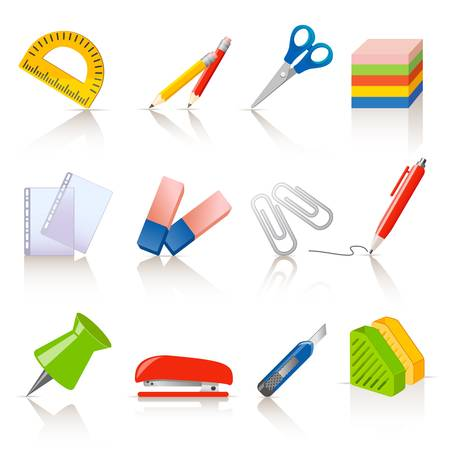 Stationery icons Stock Vector - 12326751