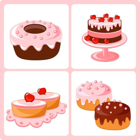 vanilla cake: sweet pastry Illustration