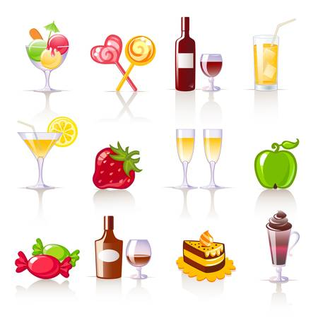candy apple: dessert and drinks icons Illustration