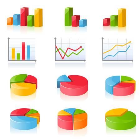 wykres kołowy: Wykresy biznesowe Ilustracja