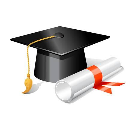 graduacion de universidad: Graduación de la tapa y un diploma. Vectores