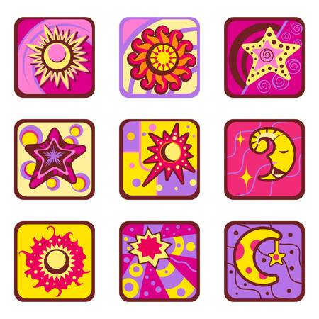 sun and star design set  Vector