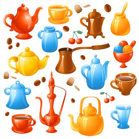 ice cream cup: coffee, tea set