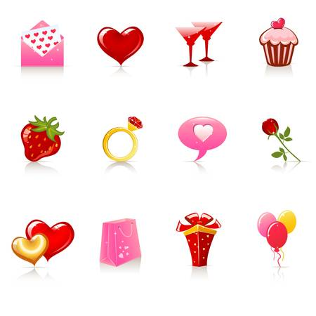 St  Valentine s Day icons Stock Vector - 12489366
