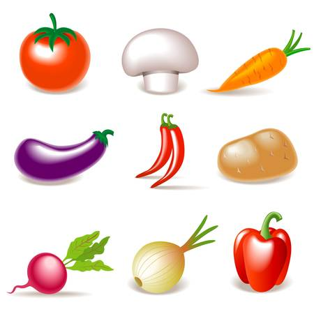 hot pepper: Vegetable icons Illustration