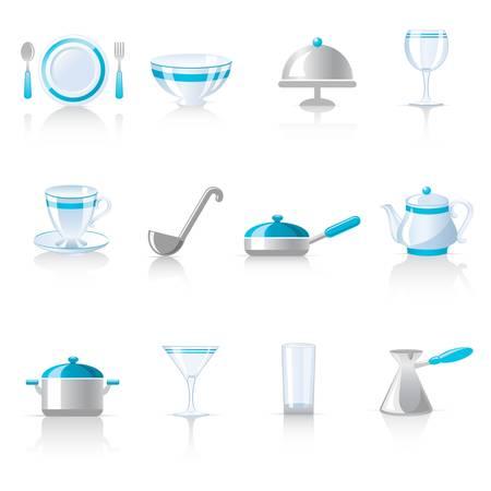 soup spoon: kitchen utensil icons  Illustration