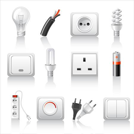 enchufe de luz: Iconos de accesorios eléctricos Vectores