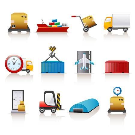 logistic: iconos de log�stica Vectores