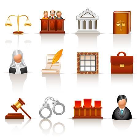 derecho penal: los iconos de la ley Vectores