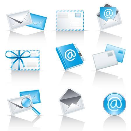 mail service pictogrammen Stock Illustratie