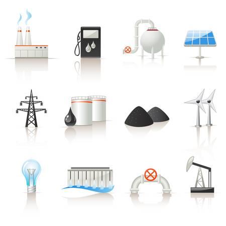 Energie-industrie icon set Stock Illustratie