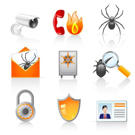 security icons Stock Vector - 12489515