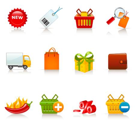 shopping icons Stock Vector - 12489518