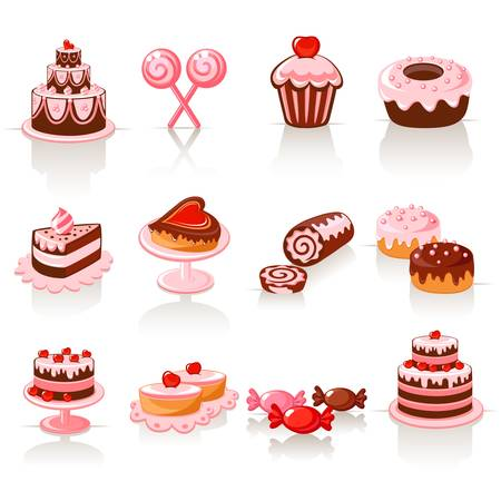 vanilla cupcake: Sweet pastry icons Illustration