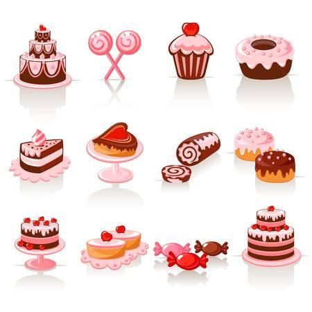 Zoet gebak iconen Stock Illustratie