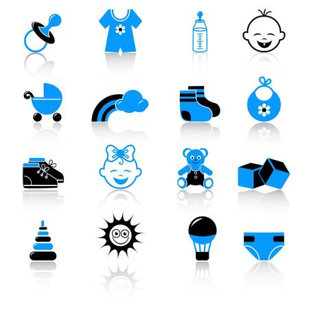 baby clothing and accessories icons Vectores