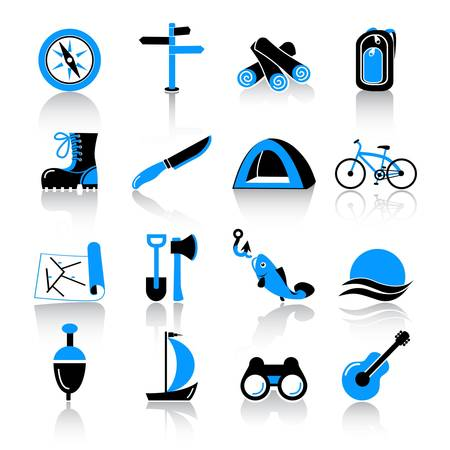 camping icons  Illustration