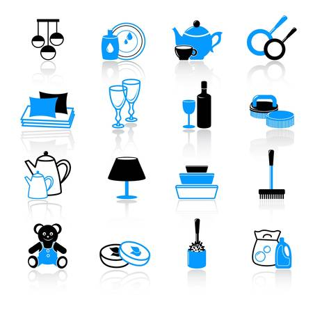cleansing: home work and home equipment icons