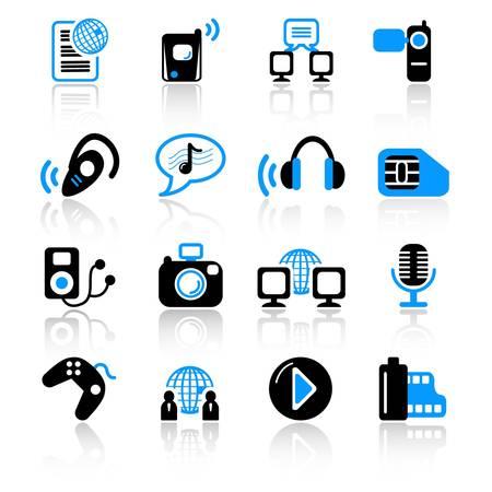multimedia icons Stock Vector - 13074094