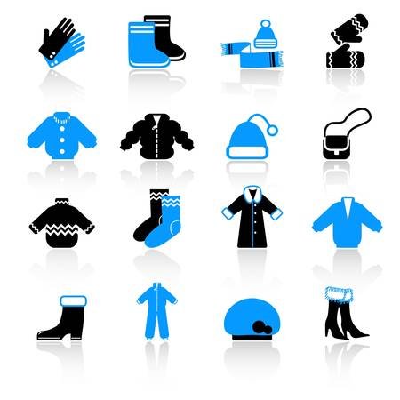 warm clothes: winter clothes icons Illustration