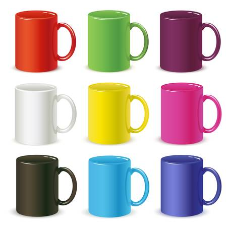 mug of coffee: colored cups vector
