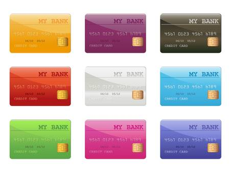 credit card debt: set of colored credit cards Illustration