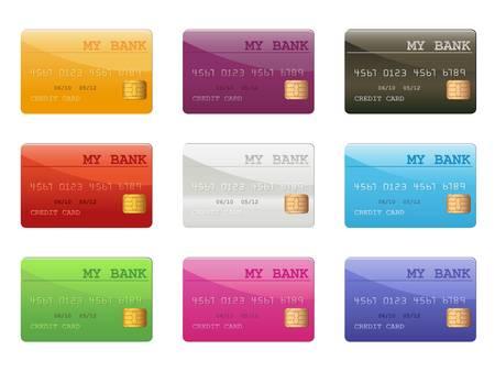 set van gekleurde creditcards