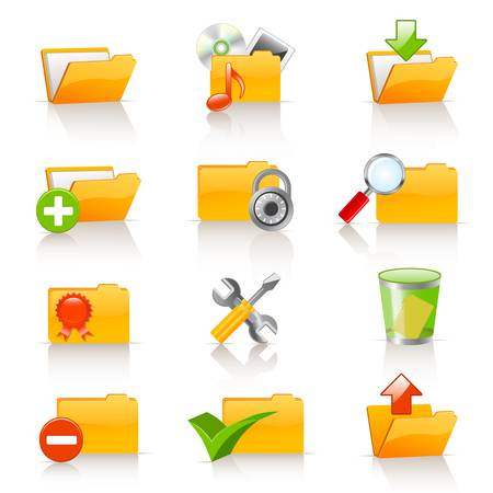 download folder: Set of vector folders  Illustration