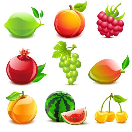 Glossy fruit set Vector