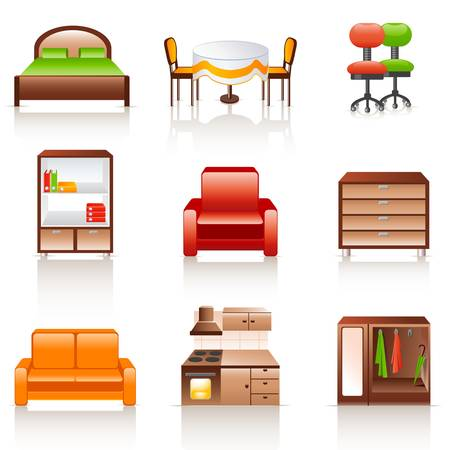 bedroom interior: furniture icons Illustration
