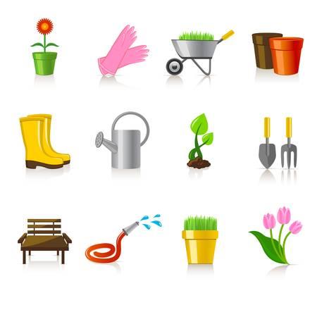 Conjunto de iconos de la jardinería