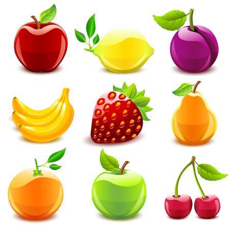 Glossy fruit set  Ilustracja
