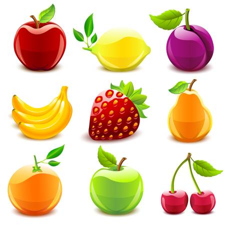 Glossy fruit set  Illustration