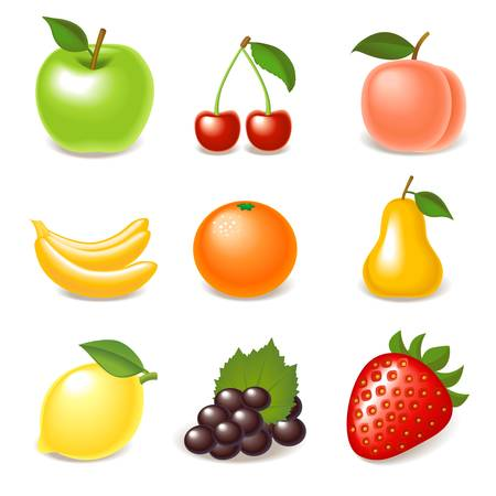 the peach: fruit icon set