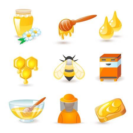 Honing en bijenteelt iconen