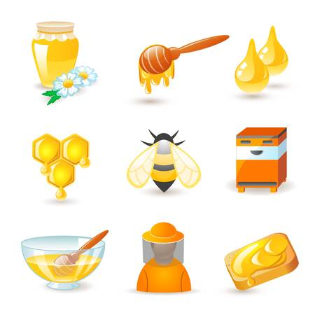 abejas panal: La miel y la apicultura iconos Vectores