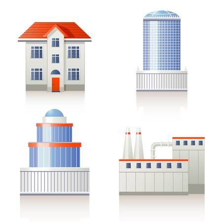corporate building: Building icon set  Illustration