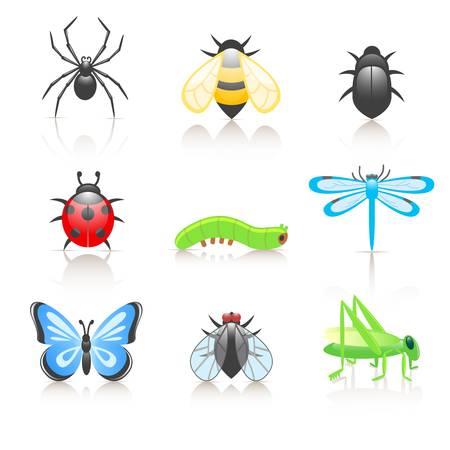 plagas: Dibujos animados de insectos conjunto de iconos