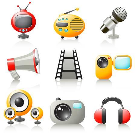 acoustic systems: cartoon media icons