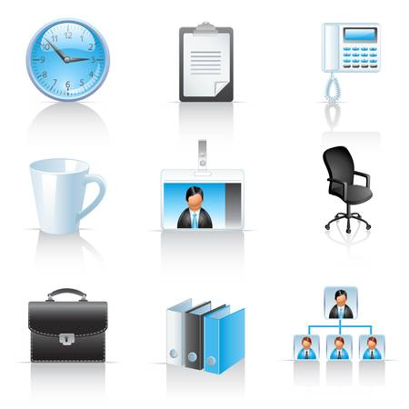 Office and business icons Ilustracja