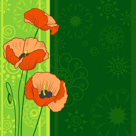 background with poppy flowers Stock Vector - 13651523