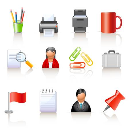 office supplies: Office and business icons Illustration