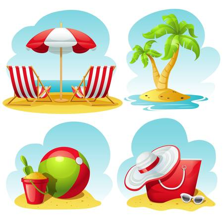 cartoon summer: beach icon set