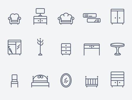 Meubilair pictogrammen  Stock Illustratie