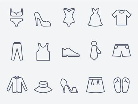 anochecer: iconos de ropa Vectores
