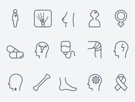 cancer foot: Medical and health care icons, thin line design Illustration