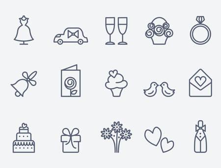 silhouette voiture: icônes de mariage Illustration