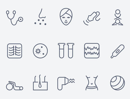 Medicine icon set, dunne lijn ontwerp