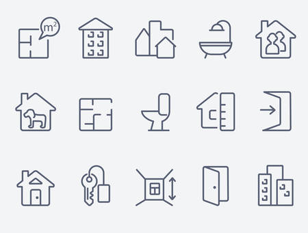 Real estate icons  イラスト・ベクター素材