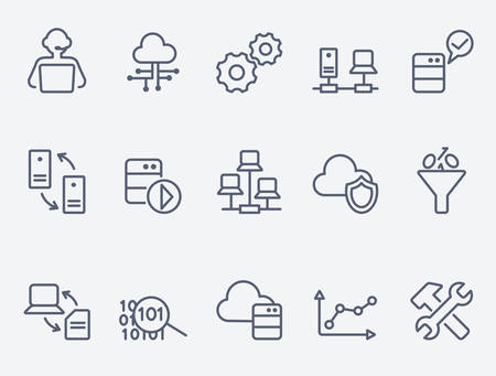 business technology: Database analytics icons